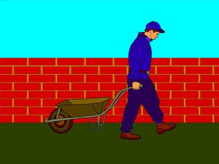 vector - worker walking along the wall Vector