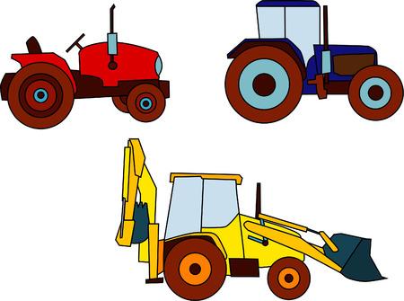 vector - set of various tractors Vector