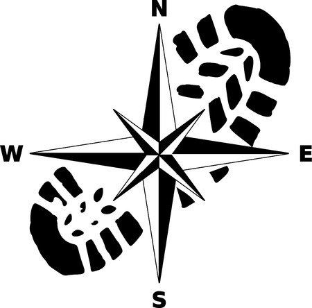 vector - print and compas - tourist mark