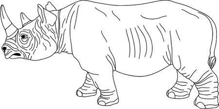 rhino contour isolated on white background Vector