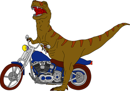 vector - big t-rex on motobike Vector