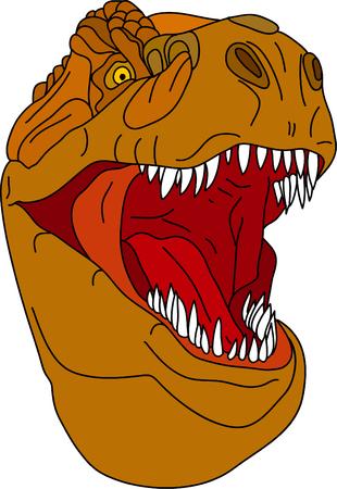 t rex: vector - t - rex hoofd geïsoleerd op achtergrond