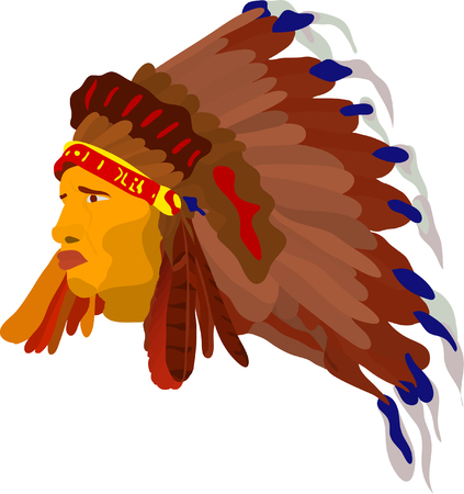 american soldier: vector - face indian with war bonnet