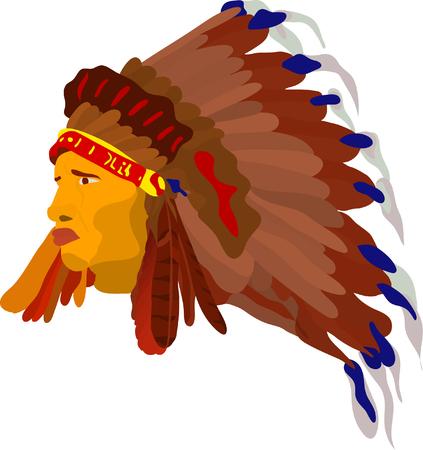 native indian: vector - indio cara con la guerra del cap�