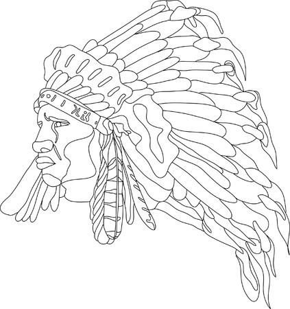 indian mask: vector - face indian with war bonnet