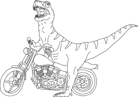 vector - big t-rex on motobike Stock Vector - 5053545