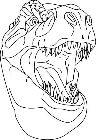t rex: vector - t - rex hoofd geïsoleerd op de achtergrond