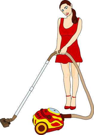 vacuum cleaner worker: vector - cleaning woman with vacuum cleaner Illustration