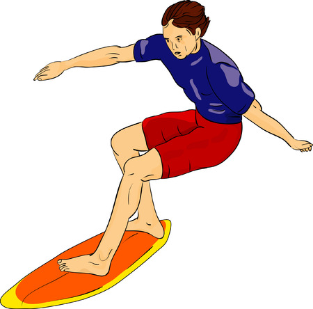 surfboard: vector - surfer isolated on background