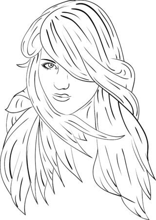 vector - face of very haired women Stock Vector - 5458871