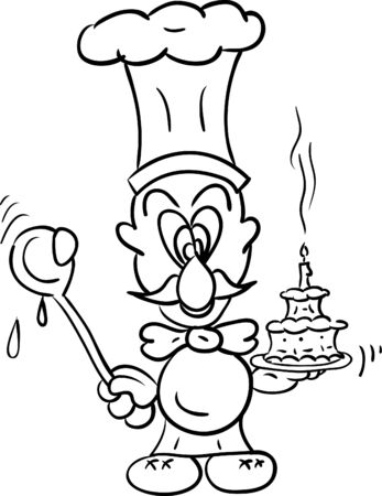 backgroud: vector - chef with tart isolated on backgroud Illustration