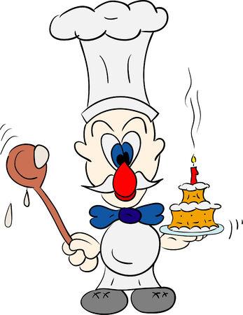tarta: Wektor - chef z rozpoczęcia odizolowane w tła