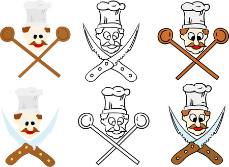vector-  set of chef like death symbol  isolated on background Vector