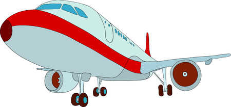 airplane engine: vector - jet plane landing ,isolated on background Illustration
