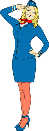 vector - air hostess isolated on background Vector