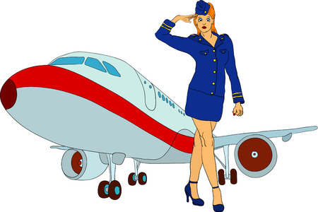 vector - air-hostess with plane isolated on background Vector