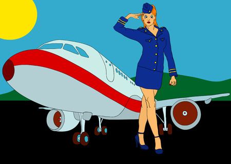 vector - air-hostess with aircraft on airport Vector