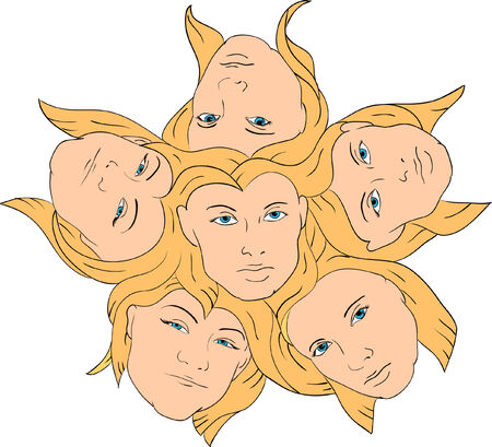 vector - woman faces as abstract flower head Stock Vector - 5458968
