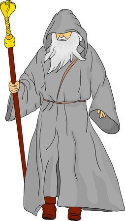 monjes: vector - druida aislado en segundo plano