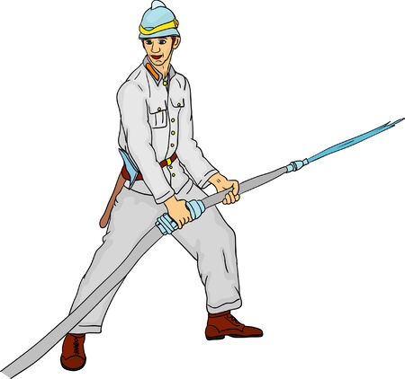 vector - historic fireman with hose isolated  Vector