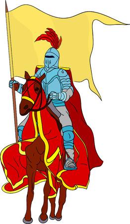 medioevo: Cavaliere a cavallo isolato su sfondo