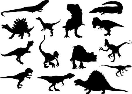 tiranosaurio rex: dinosaurios conjunto aislado en el fondo Vectores