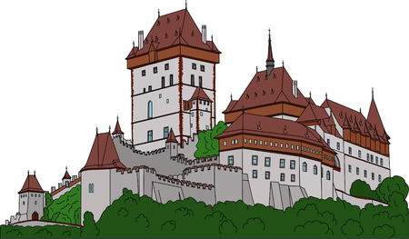 Gothic castle Karlstein (Carlstein) et Czech republic (Europe) Vector