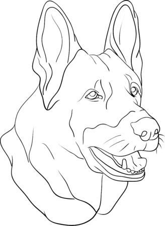 clip art draw: dog head isolated on background Illustration