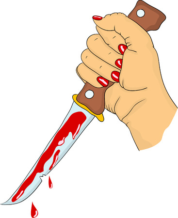 daggers: women hand with blood knife