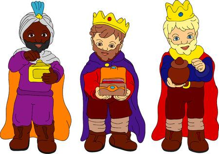 drie koningen geïsoleerd op achtergrond Stock Illustratie
