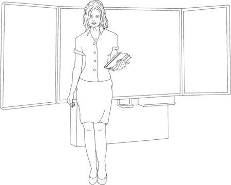teacher standing in front of blackboard Stock Vector - 6439429