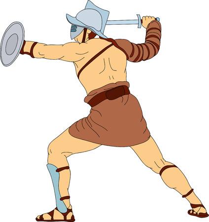 un gladiador romano combates