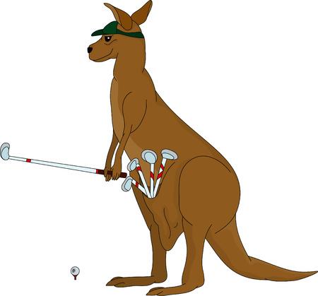 kangaroo playing golf, isolated on background Stock Vector - 6524456