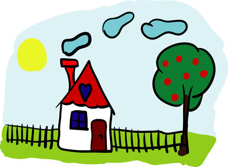 vector - home with garden and tree Stock Vector - 6568302