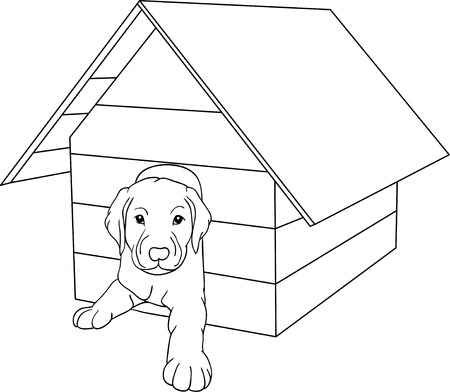 in the dog house:  house dog isolated on background Illustration