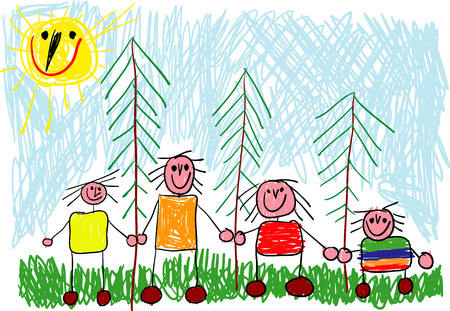 vector - happy family on a trip in the woods (childs drawing) Vector