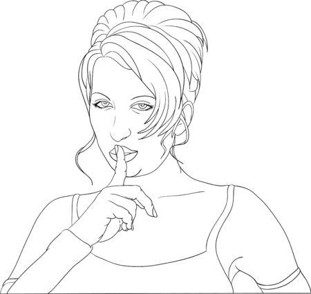 サイレント: ベクトルの女性ジェスチャー黙ってください。  イラスト・ベクター素材