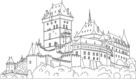 czech culture: vector -  Gothic castle Karlstein (Carlstein) et Czech republic (Europe)
