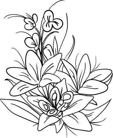 lily flowers: vector, el ramo de flores de lirio