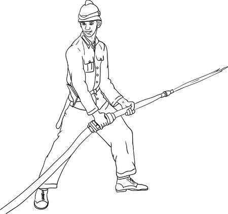 brigade: vector - historic fireman with hose isolated Illustration