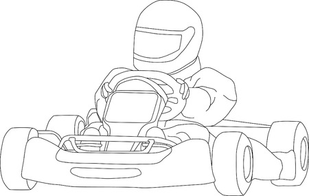carting: vector - go kart isolated on background