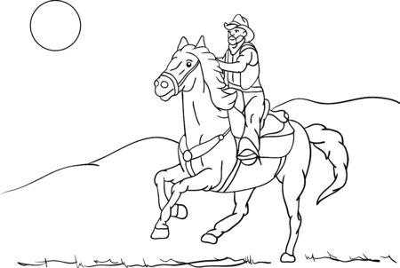 older rider on horseback riding fast landscape Vector