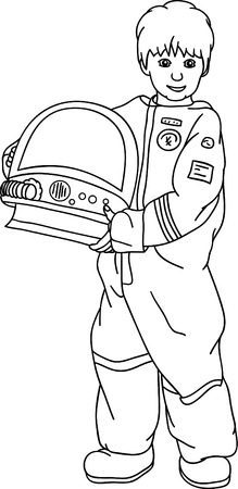 little boy as a traveler in space Stock Vector - 6691048