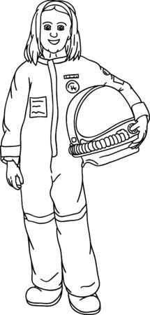 little girl as a traveler in space Vector