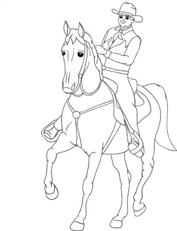 cowboy on horse: horse rider, view from the front