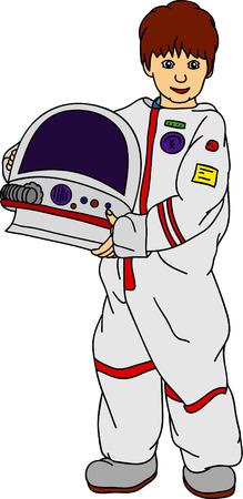 little boy as a traveler in space Stock Vector - 6750732