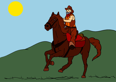 old black man: older rider on horseback riding fast landscape