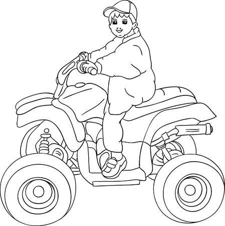 a little boy sitting on quad bike Vector