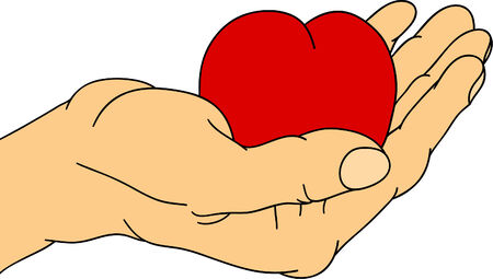 draw the hand which offers heart Stock Vector - 6813679