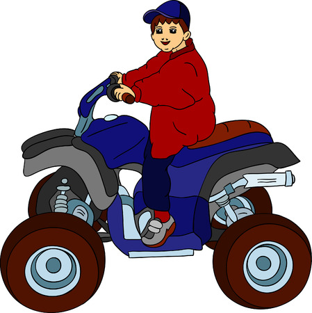 a little boy sitting on quad bike Stock Vector - 6813691